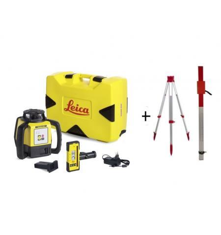 Niwelator laserowy Leica RUGBY 620 + RE160 + aku + łata + statyw