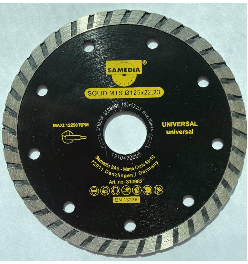 SAMEDIA Tarcza diamentowa z segmentem TURBO uniwersalna125x22,2 3x7